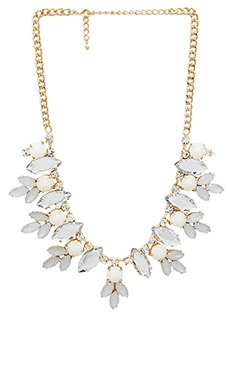 Wanderlust + Co Multi Gem Floral Necklace in Ivory