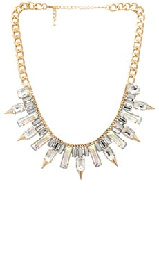 Wanderlust + Co Multi Spike Baguette Necklace in Crystal