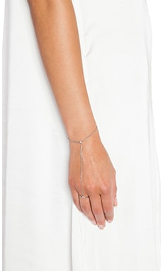 Wanderlust + Co Double Ring & Chain Bracelet in Silver