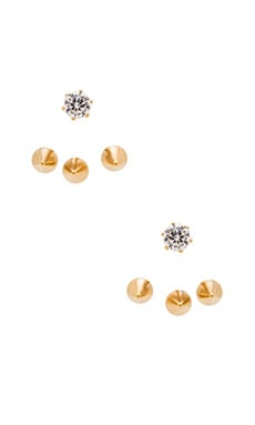 Wanderlust + Co Triple Stud & Crystal Ear Cuff in Gold