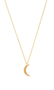 Wanderlust + Co Crescent and Diamante Necklace in Gold