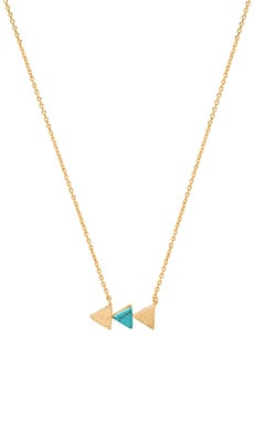 Wanderlust + Co Multi Tri Necklace in Gold & Turquoise