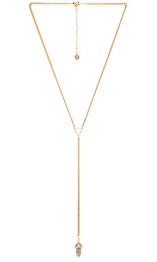 Wanderlust + Co Celeste Tri Lariat Necklace in Gold & Slate