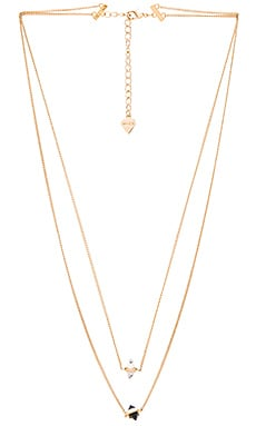 Wanderlust + Co Calista Layered Necklace in Gold & Lariat