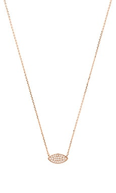 Wanderlust + Co Evil Eye Pave Necklace in Rose Gold
