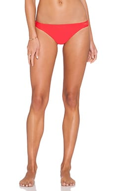 WATER GLAMOUR Knotted Bikini Bottom in Hot Coral