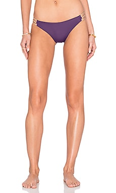 WATER GLAMOUR Mia Braid Bikini Bottom in Aubergine & Nude