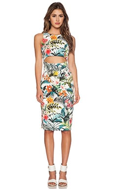 WAYF Cutout Bodycon Dress in Tropical Print