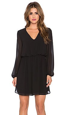 WAYF V Neck Dress in Black