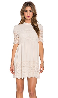 WAYF Lace Babydoll Dress in Nude