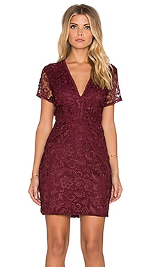 WAYF Lace Mini Dress in Burgundy