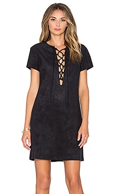 WAYF Faux Suede Lace Up Dress in Black