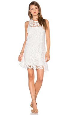 Cross Strap Dress in White Crochet