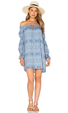 WAYF Perched Bird Off The Shoulder Dress in Blue Geo