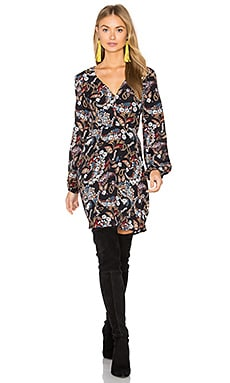 Malone Plunge Mini Dress in Black Floral