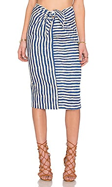 WAYF Tie Front Pencil Skirt in Navy Stripe