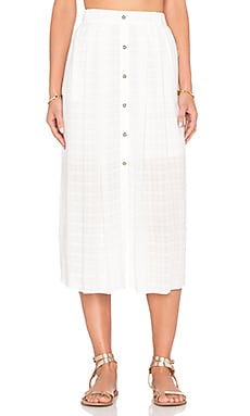 WAYF Button Front Skirt in White