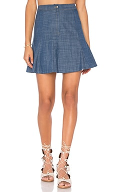 WAYF Swing Skirt in Chambray