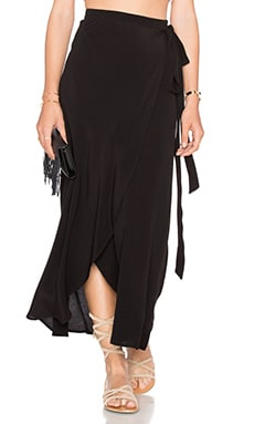 WAYF Wrap Midi Skirt in Black