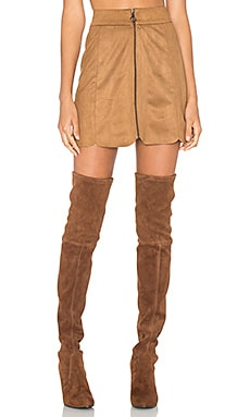 Warwick Zip Up Mini Skirt in Brown