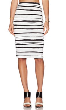 WAYF Pencil Skirt in Black & White Stripe
