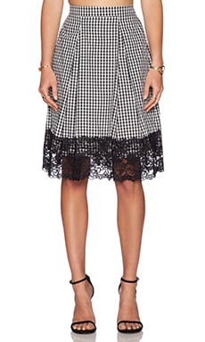 WAYF Lace Trim Midi Skirt in Black & White Gingham