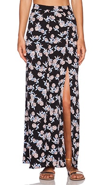 WAYF Slit Maxi Skirt in Pineapple Print