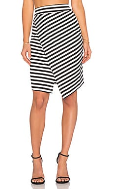 WAYF Wrap Skirt in Black & White Stripe
