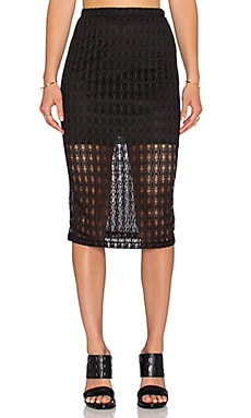WAYF Crochet Pencil Skirt in Black