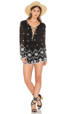 WAYF Embroidered Romper in Black & Ivory