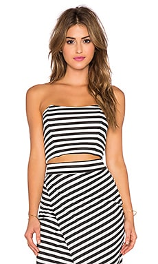 WAYF Strapless Crop Top in Black & White Stripe