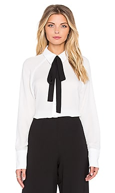 WAYF Tie Front Blouse in Ivory