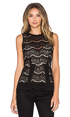 WAYF Peplum Lace Shell in Black & Nude