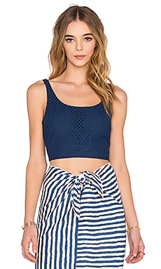 WAYF Cropped Tank in Navy Eyelet