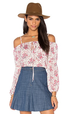 WAYF Cold Shoulder Blouse in Garden Print