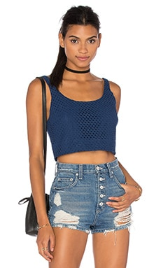 Cropped Tank in Navy Eyelet