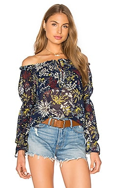 WAYF Perched Bird Off The Shoulder Top in Navy Floral