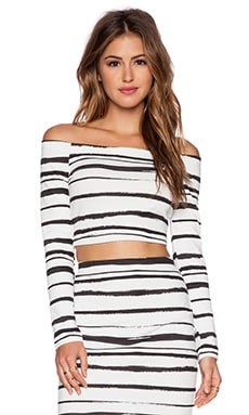 WAYF Off Shoulder Crop Top in Black & White Stripe
