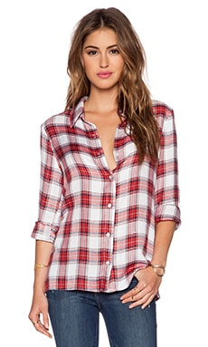WAYF Open Back Blouse in Red Plaid