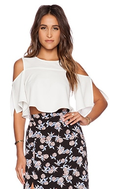 WAYF Off Shoulder Blouse in White Texture