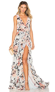 Natalia Split Front Maxi Dress in Embossed Ice