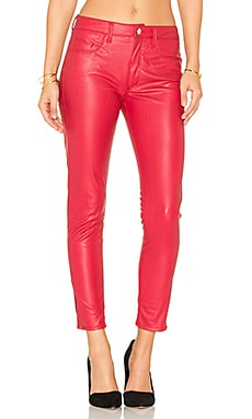 Vegan Leather High Rise Zip Skinny in Fire Engine Red