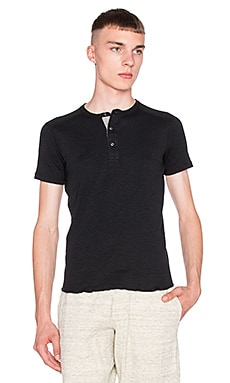 wings + horns Slub Henley in Black