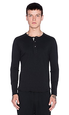 wings + horns Slub Long Sleeve Henley in Black