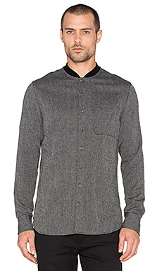 wings + horns Jaspe Herringbone Knit Button Up in Black