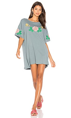 Indigo Rose Embroidered T-Shirt Dress