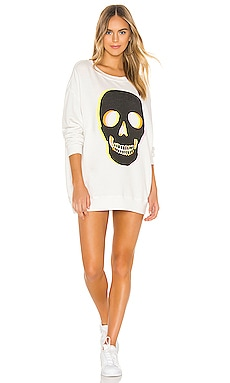 Glow Skull Roadtrip Sweatshirt Dress Wildfox Couture $118