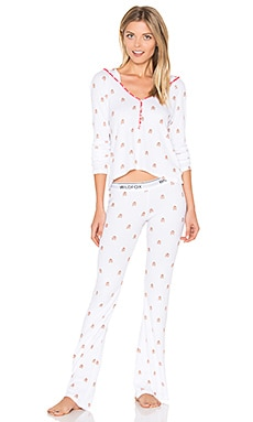 Raining Gingerbread Pajama Set in Clean White