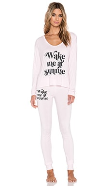 Wildfox Couture Wake Me At Sunrise Sleep Set in Ghost Pink