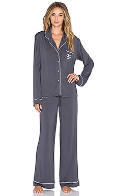 Wildfox Couture Buona Notte Classic PJ Set in Charcoal Grey & Vanilla